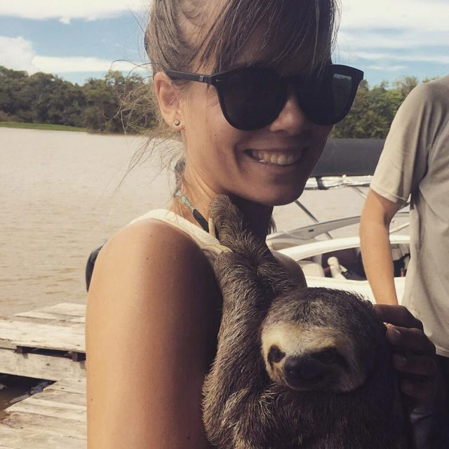 throwback to when i cuddled with a sloth in brazilhellip
